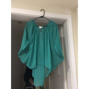 Shear teal top